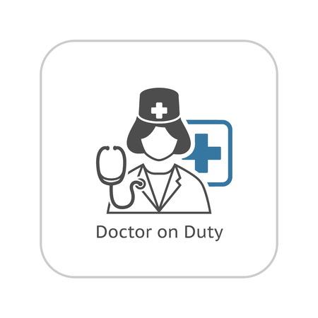 Icono Médico de Guardia. Diseño plana ilustración. Ilustración de vector