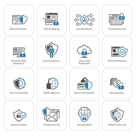 Flat Design Protection et sécurité Icons Set. Illustration isolé.
