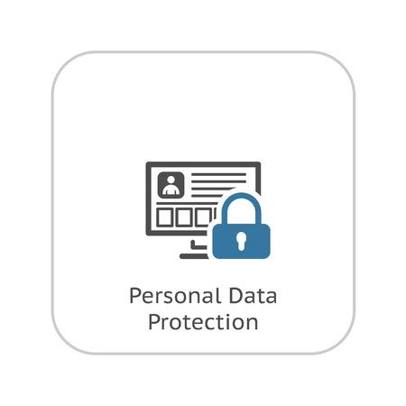Icono de protección de datos personales. Diseño plano. Concepto de negocio ilustración. Ilustración de vector