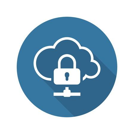 Icona di protezione dei dati cloud. Design piatto. Business concetto isolato Illustrazione.