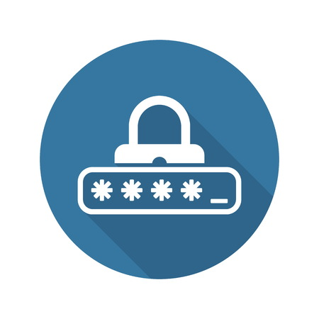 Password Protection Icon. Flat Design. Business Concept Isolated Illustration. Ilustração
