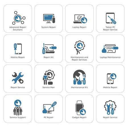 Reparatie Service en onderhoud Icons Set. Geïsoleerde illustratie.