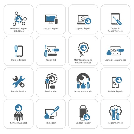 Repair Service and Maintenance Icons Set.  Isolated Illustration. Vettoriali