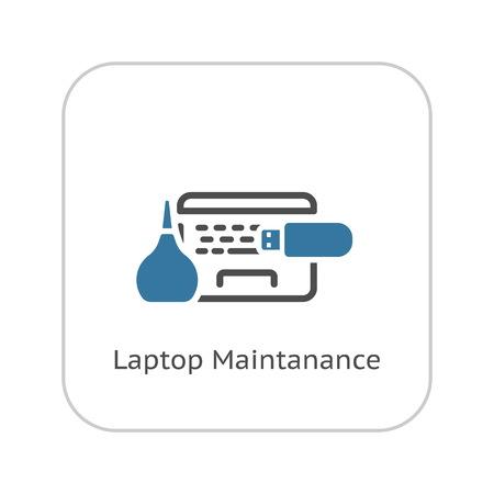 Laptop Maintanance Icon. Flat Design Isolated Illustration.
