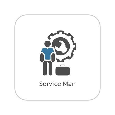 Service Man Icon. Flat Design Isolated Illustration. Illustration