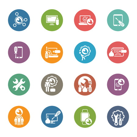 Repair Service and Maintenance Icons Set.  Isolated Illustration. Illustration
