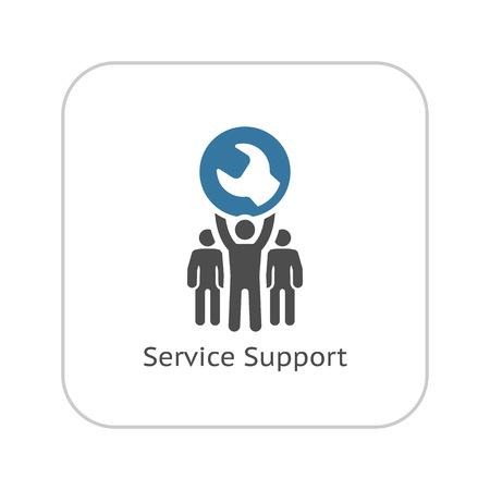 Servicio de apoyo de icono. Diseño plana ilustración.