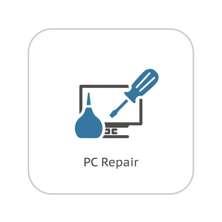 Ikona PC Repair. Płaska Izolowane ilustracji.