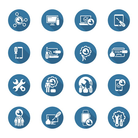 Repair Service and Maintenance Icons Set. Isolated Illustration.