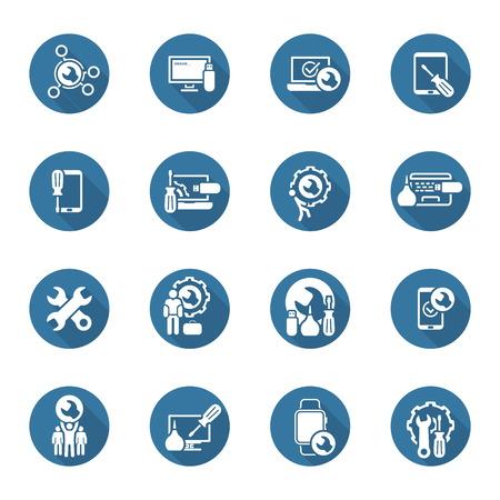 Service de réparation et d'entretien Icons Set. Illustration isolé.
