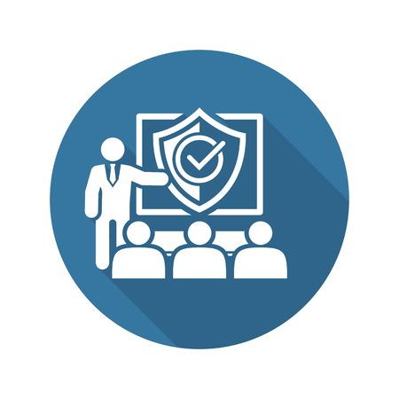 Security Briefing Icona. Business Concept piatto Design. Illustrazione isolato. Vettoriali