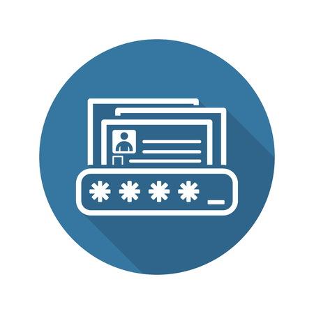 Icono de protección de datos personales. Diseño plano. Concepto de negocio ilustración.