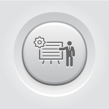 Procesos de Negocio icono. Concepto de negocio. Diseño Botón gris Ilustración de vector