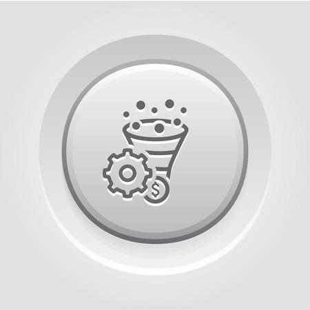 Conversion de taux Optimisation Icône. Concept d'affaire. Bouton Grey Design Vecteurs