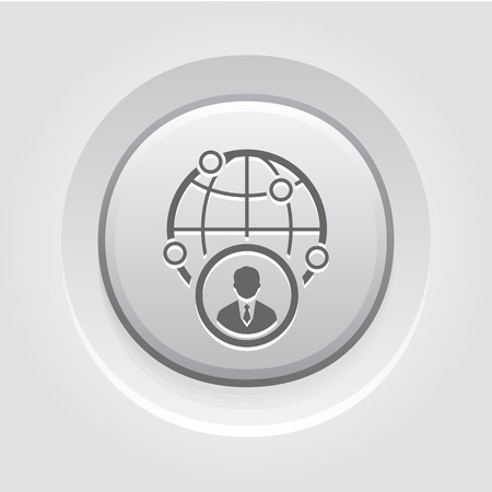 Negocios icono representativo. Concepto de negocio. Diseño Botón gris Ilustración de vector