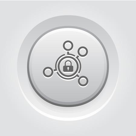 Las soluciones de seguridad avanzada del icono. Concepto de negocio. Diseño Botón gris