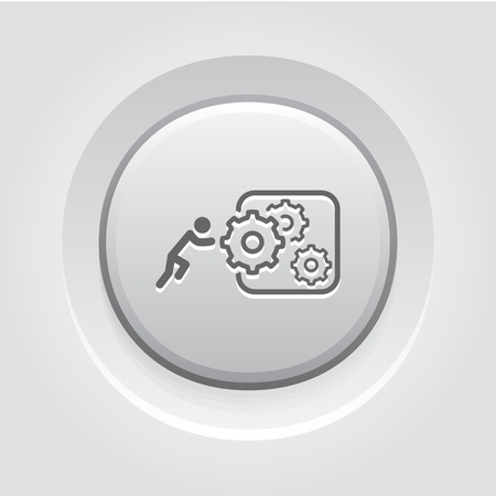 Integration of Innovation Icon. Business Concept. Grey Button Design