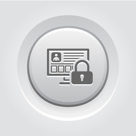 Icono de protección de datos personales. Concepto de negocio Gris Diseño Botón