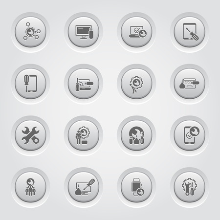 Repair Service and Maintenance Icons Set.  Grey Button Design