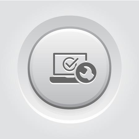 Laptop Repair Icon Concept. Grey Button Design