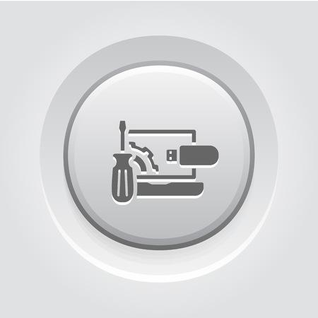 Repair Kit Icon Concept. Grey Button Design Illustration