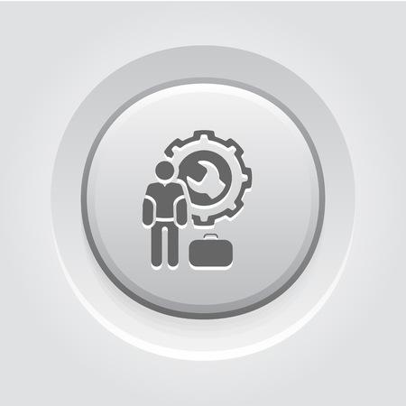Service Man Icon Concept. Grey Button Design