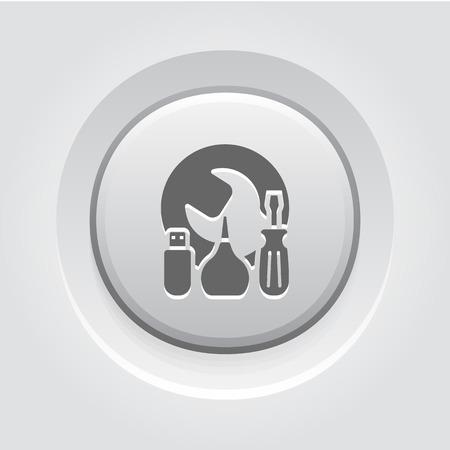 Maintanance Kit Icon Concept. Grey Button Design Illustration