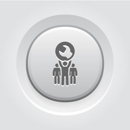 Service Support Icon Concept. Grey Button Design