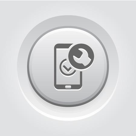 Mobile Repair Icon Concept. Grey Button Design