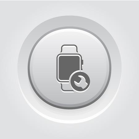 Gadget Repair Icon Concept. Grey Button Design
