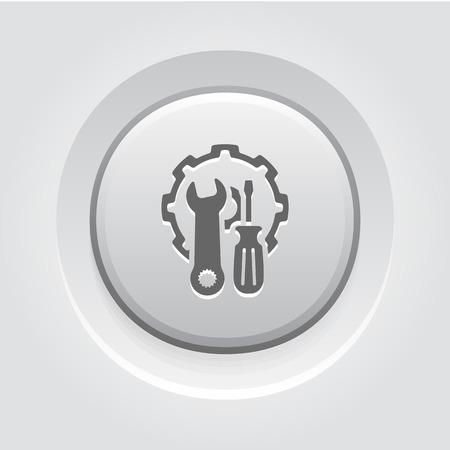 Repair Service Icon Concept. Grey Button Design