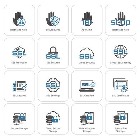 Piatto di sicurezza e la protezione icone set. Illustrazione isolato.