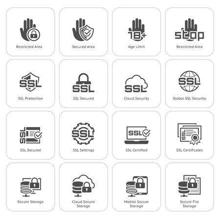 Piatto di sicurezza e la protezione icone set. Illustrazione isolato. Vettoriali