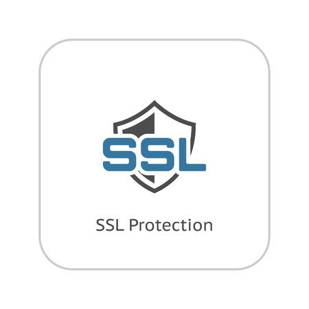 SSL Protection Icon. Flat Design Isolated Illustration.
