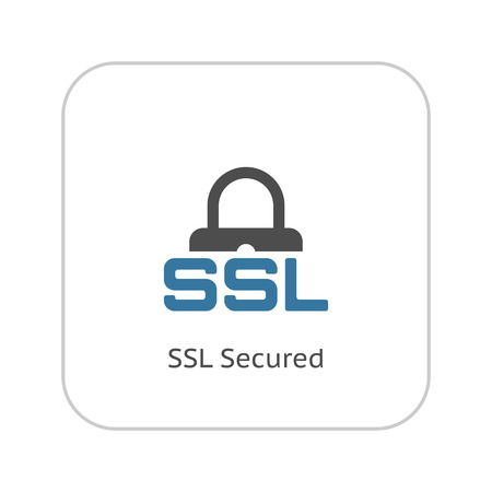 SSL Secured Icon. Flat Design Isolated Illustration. 矢量图像