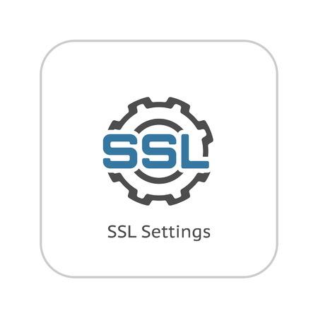 SSL Settings Icon. Flat Design Isolated Illustration.