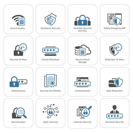 Flat Design Security and Protection Icons Set. Isolated Illustration. App Symbol or UI element. Çizim
