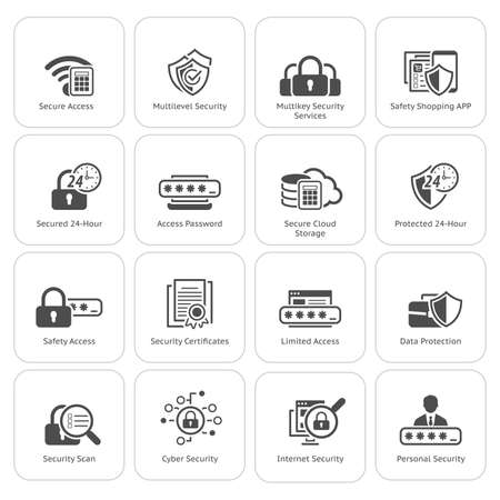 Flat Design Security and Protection Icons Set. Isolated Illustration. App Symbol or UI element. Illustration