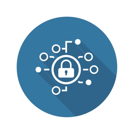 Cyber Security Icon. Flat Design. Security concept with a padlock and a points. Isolated Illustration. App Symbol or UI element. Illustration
