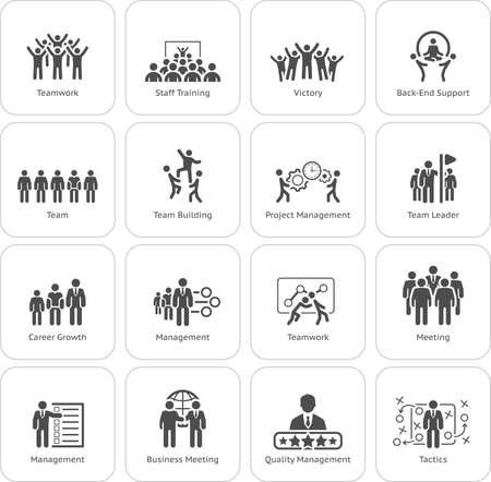 Diseño plano Business Team Icons Set que incluye reuniones, capacitación, trabajo en equipo, trabajo en equipo, administración, carrera, tácticas. Ilustración aislada Símbolo de aplicación o elemento de interfaz de usuario.