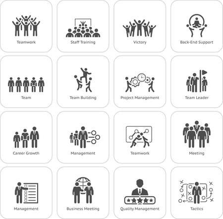 Flat Design Business Team Icons Set including Meeting, Training, Teamwork, Team Building, Management, Career, Tactics. Isolated Illustration. App Symbol or UI element. Vettoriali