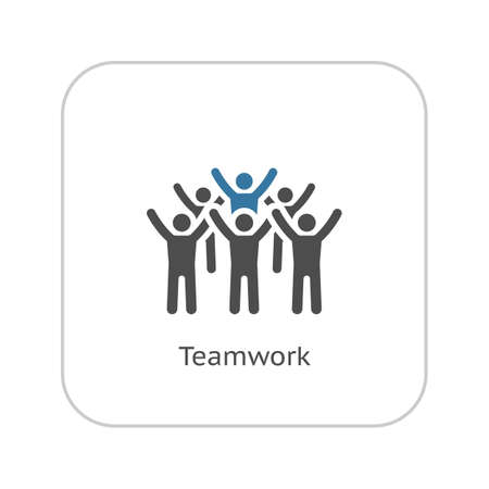 Teamwork Icon. Flat Design. Group of People with Leader Concept. Isolated Illustration. App Symbol or UI element.
