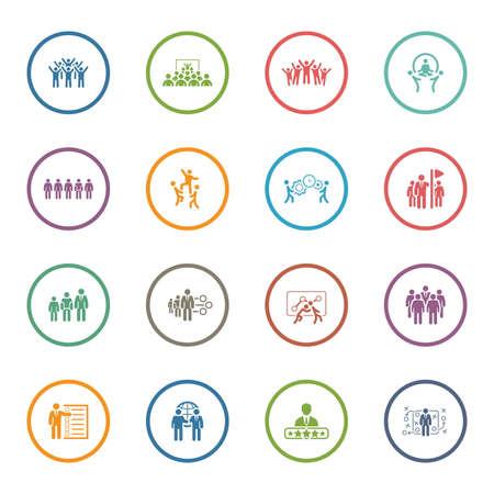 Flat Design Business Team Icons Set including Meeting, Training, Teamwork, Team Building, Management, Career, Tactics. Isolated Illustration. App Symbol or UI element. Vetores