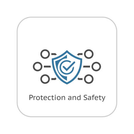 Protection and Safety Icon. Flat Design. Security concept with a shield. Isolated Illustration. App Symbol or UI element. Vetores