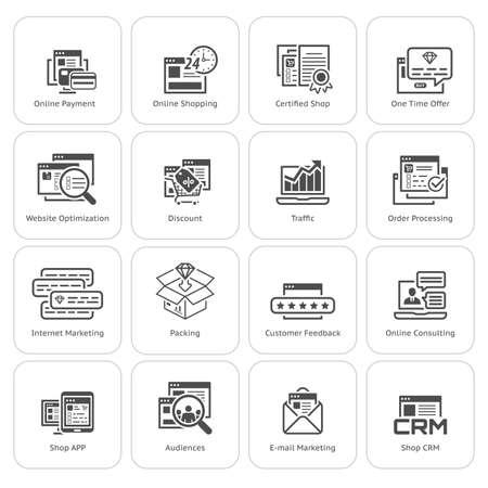 Appartement design commercial et marketing Icons Set. Le paiement en ligne et le symbole d'achat, de réduction et une fois le symbole de l'offre, icône de trafic et de marketing internet, icône crm et e-mail symbole de marketing.