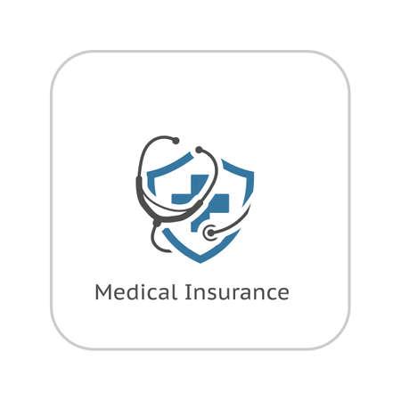 Icône médicale d'assurance. Design plat. Illustration isolé. Stéthoscope avec un bouclier et une croix dessus.