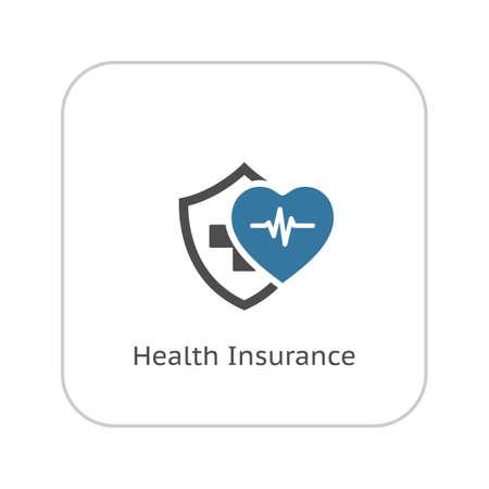 Icône d'assurance maladie. Conception plat. Illustration isolé. Coeur avec impulsion et un bouclier avec une croix derrière eux.