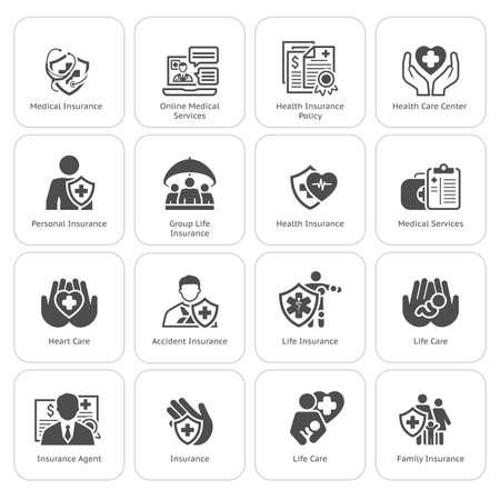 Verzekering en Medische diensten Icons Set. Plat ontwerp. Geïsoleerde illustratie. Leven en Gezondheid Insuranse Symbol. Persoonlijke en collectieve levensverzekeringen Symbol. Leven en Zorg van het Hart Symbool.