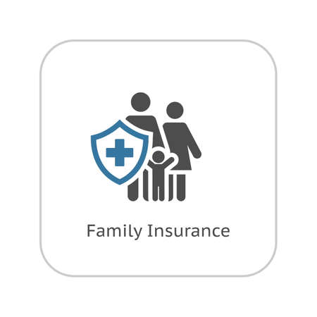 Family Insurance Icon. Flat Design. Isolated Illustration. Family with a shield and a cross on it.