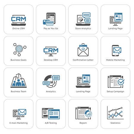 Set of Business and Marketing Icons as CRM, Store Analytics, Landing Page, Business Goals. Confirmation Letter, Marketing, Business Team, Analytics, Setup Campain, AB Testing, Report Statistics 矢量图像